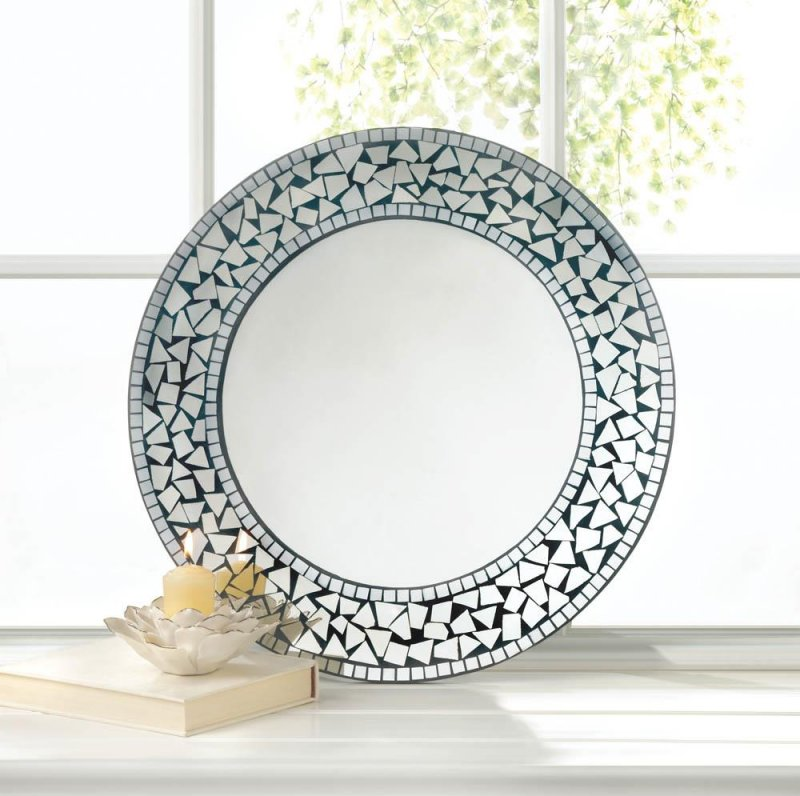Image 0 of Silver Moroccan Style Round Mosaic Decorative Wall Mirror