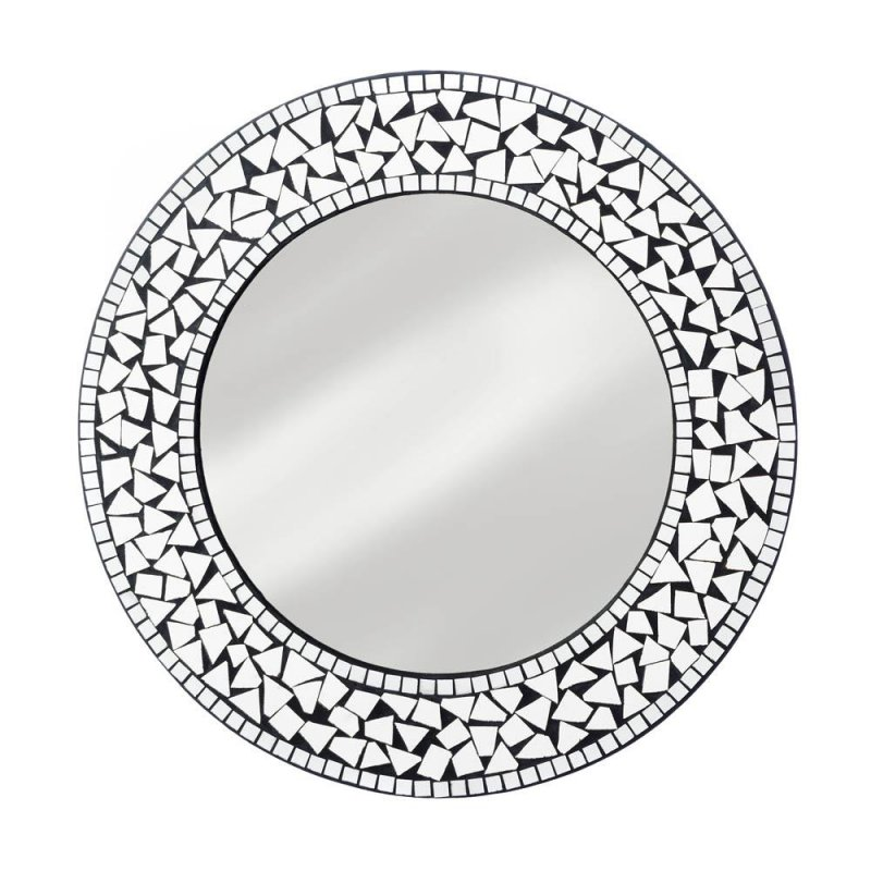 Image 1 of Silver Moroccan Style Round Mosaic Decorative Wall Mirror