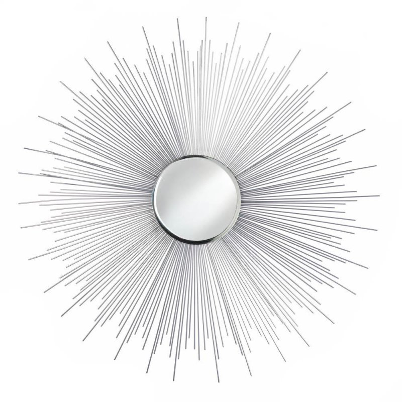 Image 0 of Silver Iron Rays with Small Round Beveled Contemporary Decorative Wall Mirror