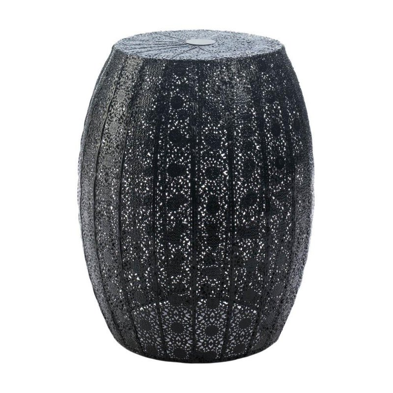 Image 0 of Black Lace Moroccan Style Metal Stool, Side Table or Plant Stand