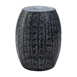 Black Lace Moroccan Style Metal Stool, Side Table or Plant Stand