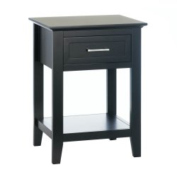 Black Contemporary Crosstown Accent, Night Stand, Side, End Table w/ Drawer