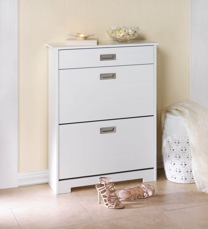Image 1 of White Contemporary 2 Tier Shoe Rack Organizer Cabinet w/ Pull-Out Drawer