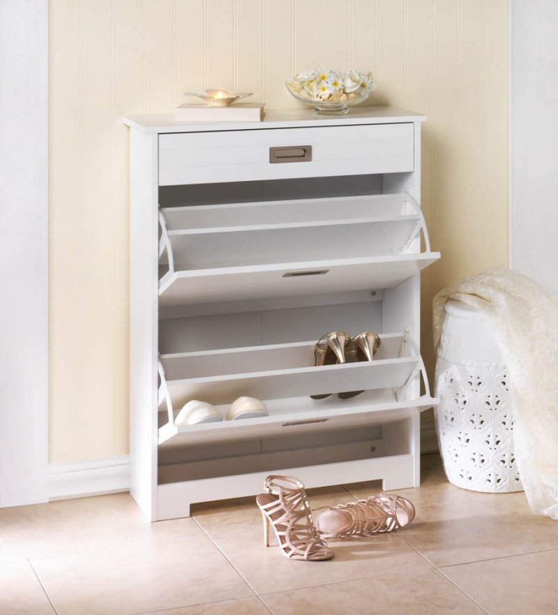 Image 0 of White Contemporary 2 Tier Shoe Rack Organizer Cabinet w/ Pull-Out Drawer