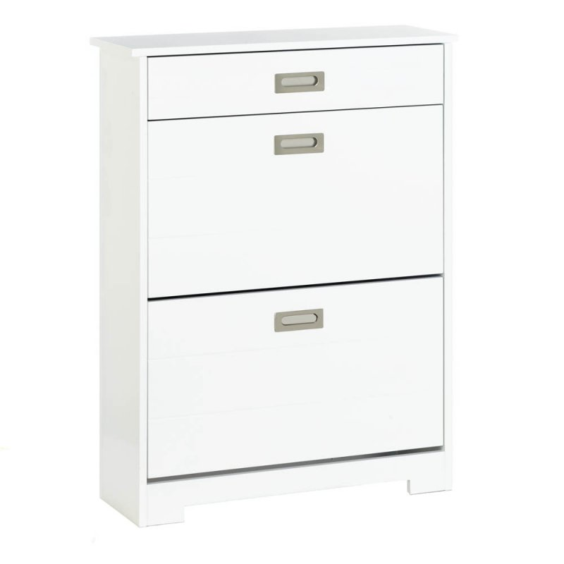 Image 2 of White Contemporary 2 Tier Shoe Rack Organizer Cabinet w/ Pull-Out Drawer