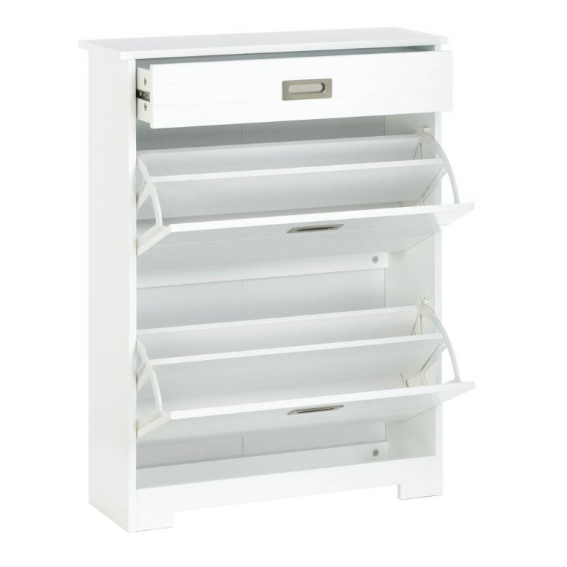Image 3 of White Contemporary 2 Tier Shoe Rack Organizer Cabinet w/ Pull-Out Drawer