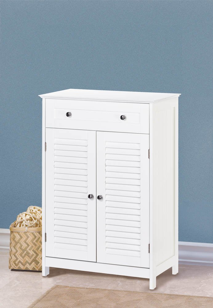 Image 0 of White Nantucket Slatted Double Door Floor Storage Cabinet with Drawer