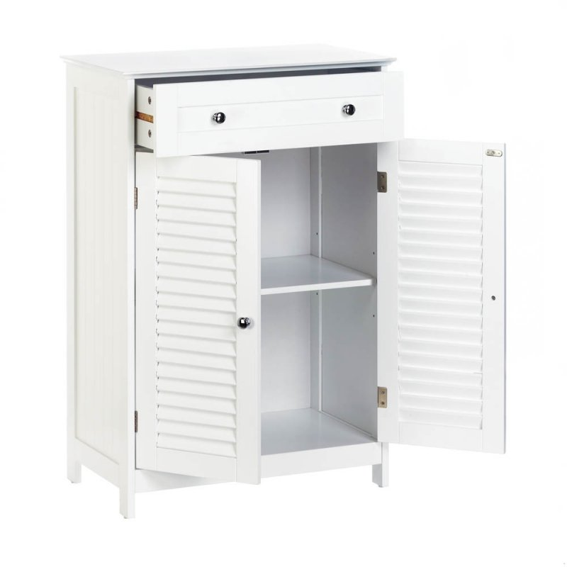 Image 2 of White Nantucket Slatted Double Door Floor Storage Cabinet with Drawer
