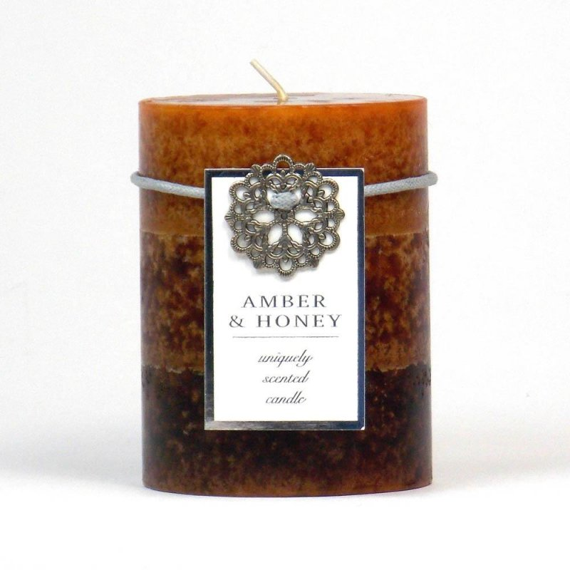 Image 0 of Amber and Honey Vanilla Scented 3 x 4 Pillar Candle 60 Hours Burn Time