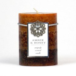 Amber and Honey Vanilla Scented 3 x 4 Pillar Candle 60 Hours Burn Time