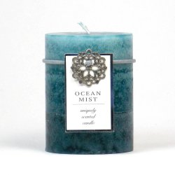 Ocean Mist Scented 3 x 4 Pillar Candle 60 Hours Burn Time