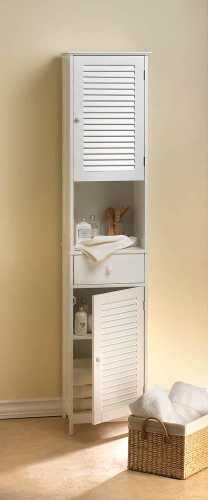 Image 0 of White Nantucket Tall Storage Cabinet Upper & Lower Storage, Drawer & Shelf