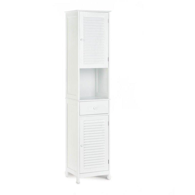 Image 1 of White Nantucket Tall Storage Cabinet Upper & Lower Storage, Drawer & Shelf