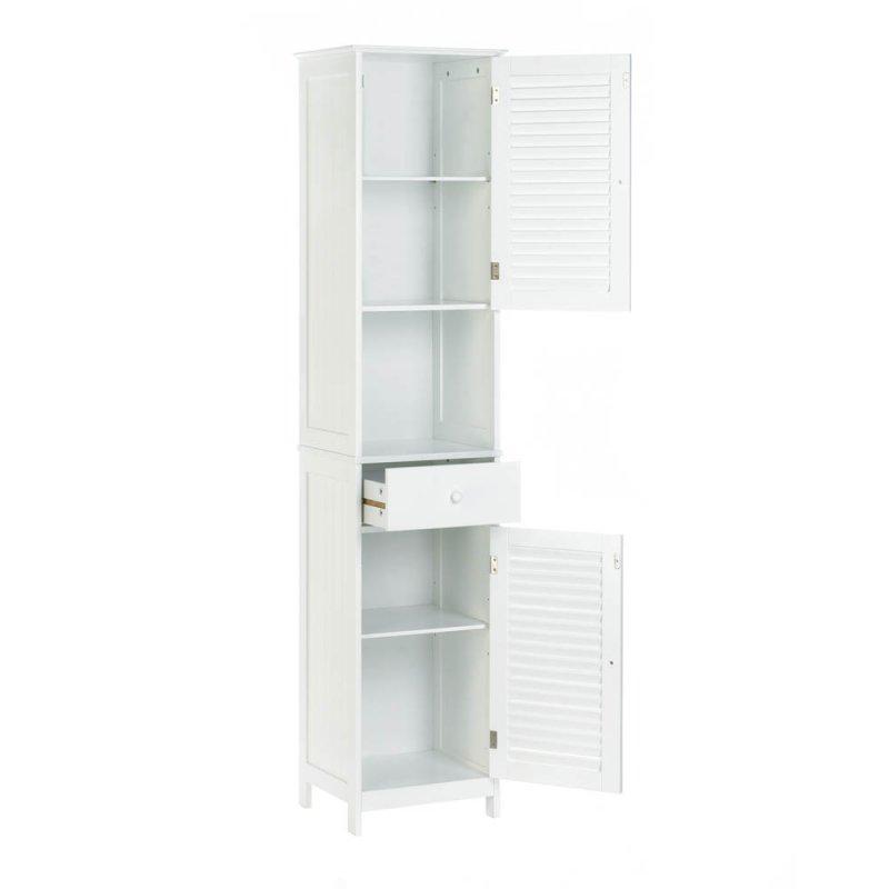 Image 2 of White Nantucket Tall Storage Cabinet Upper & Lower Storage, Drawer & Shelf