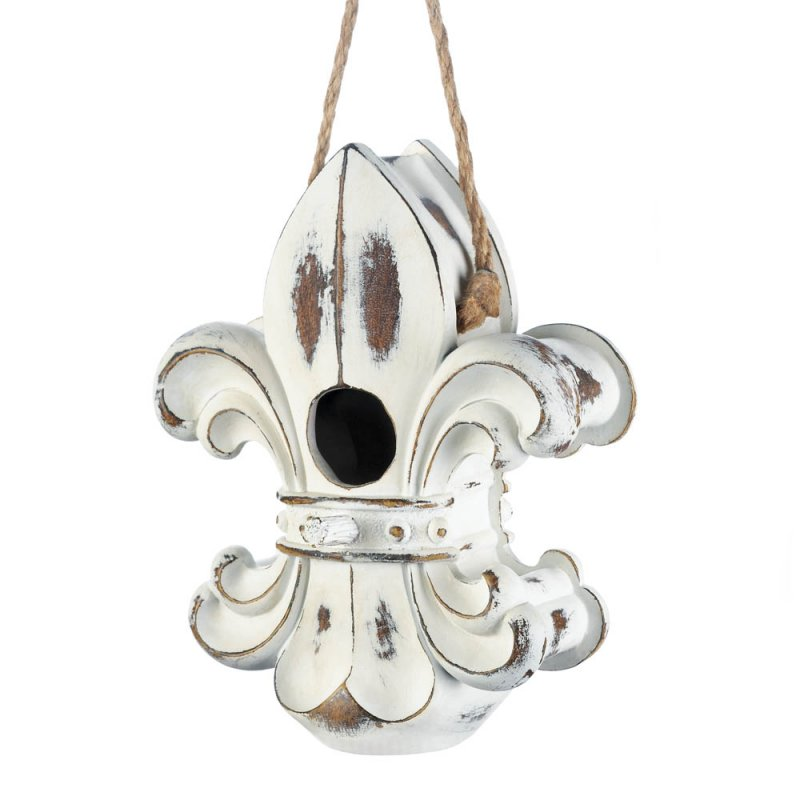 Image 1 of Weathered White European Style Fleur de Lis Hanging Birdhouse