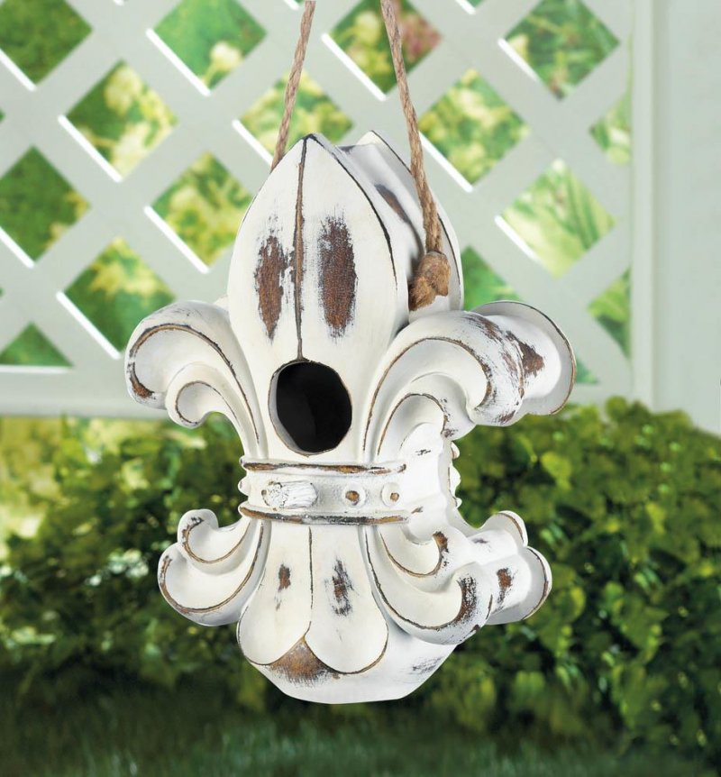 Image 0 of Weathered White European Style Fleur de Lis Hanging Birdhouse