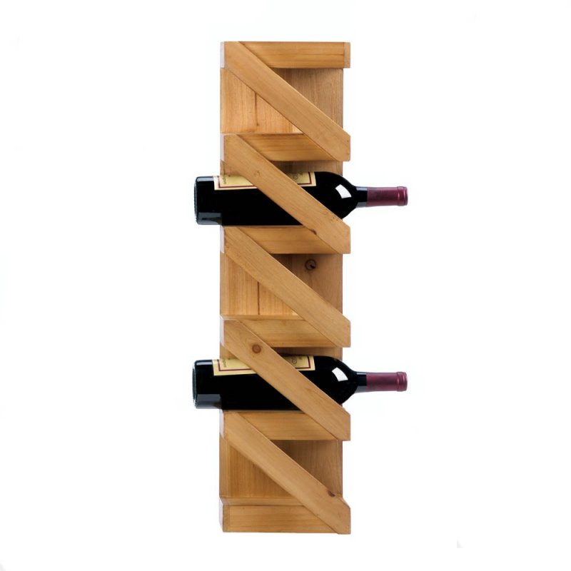 Image 0 of Rustic Pine Wood Wall Mounted Zig Zag Wine Rack Holds 5 Bottles