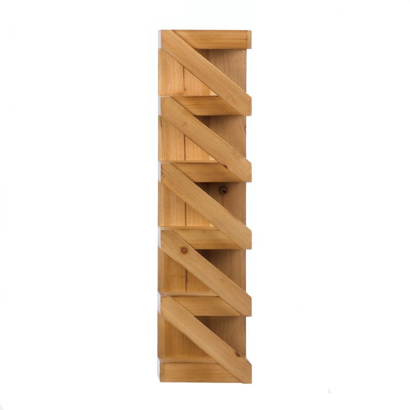 Image 1 of Rustic Pine Wood Wall Mounted Zig Zag Wine Rack Holds 5 Bottles