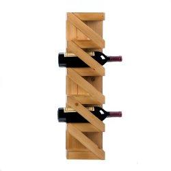 Rustic Pine Wood Wall Mounted Zig Zag Wine Rack Holds 5 Bottles