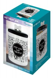 Black & White Ceramic Treat Jar Decorated with Cartoon Dogs & Cats Air Tight Lid