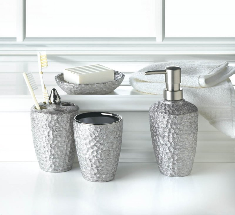 Image 0 of 4-pc. Porcelain Hammered Silver Metallic Finish Bath Accessory Set