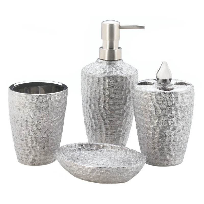 Image 1 of 4-pc. Porcelain Hammered Silver Metallic Finish Bath Accessory Set