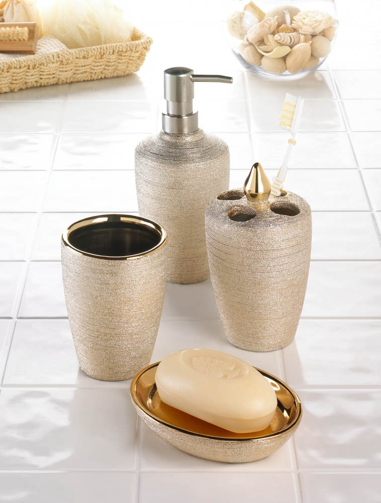 Image 0 of Porcelain Golden Shimmer Bath Accessory Set Asian Style