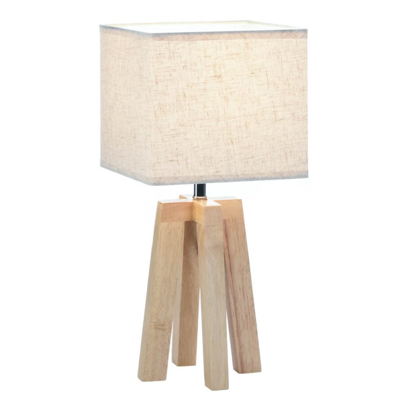 Image 0 of Geometric Wooden Base with Square Linen Shade Table Lamp