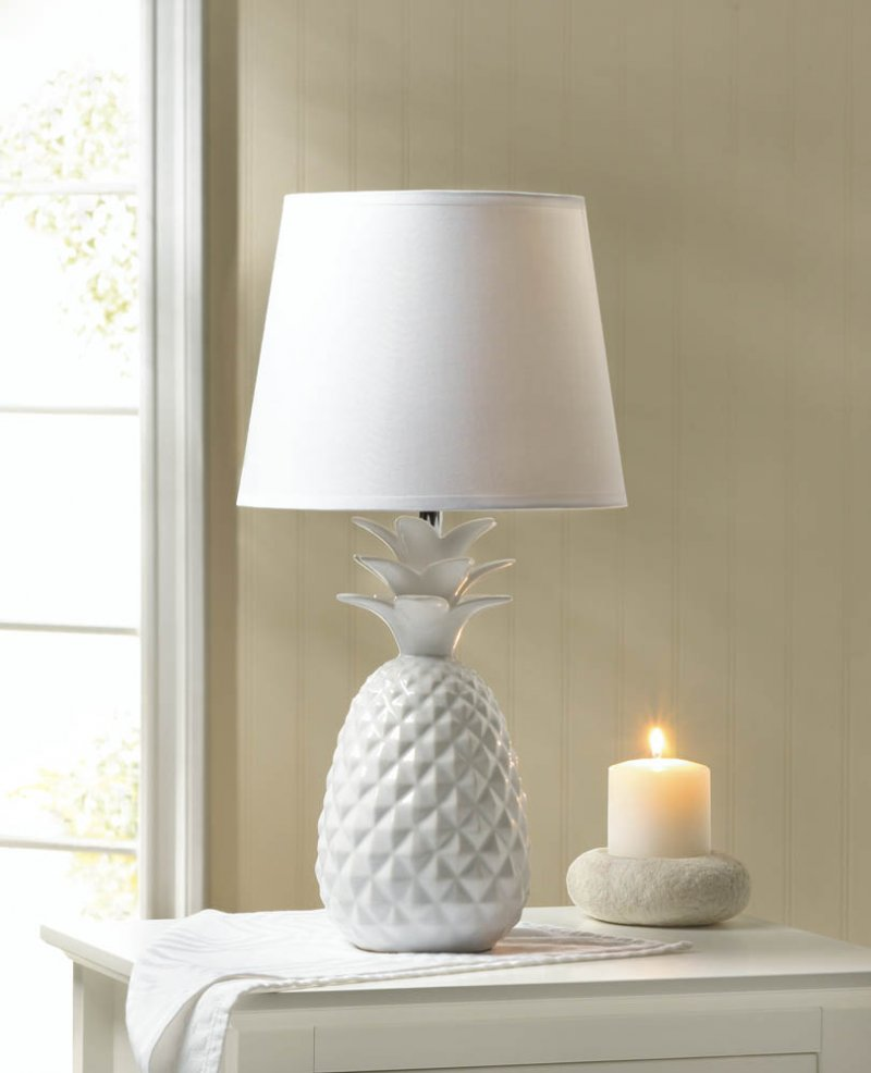 Image 0 of White Porcelain Pineapple Shaped Base with Fabric Shade Table Lamp