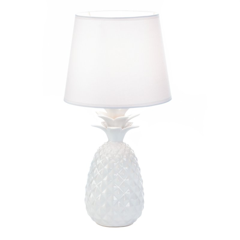 Image 1 of White Porcelain Pineapple Shaped Base with Fabric Shade Table Lamp