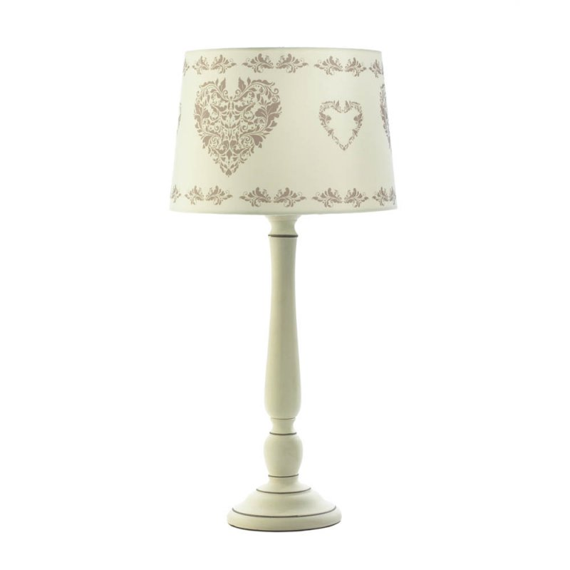 Image 0 of Vintage Style Country White Ceramic with Heart Design Fabric Shade Table Lamp
