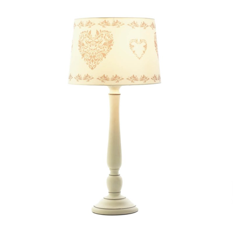 Image 1 of Vintage Style Country White Ceramic with Heart Design Fabric Shade Table Lamp