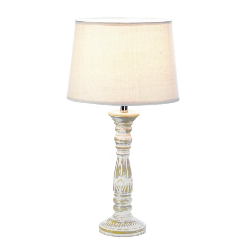 Image 1 of Antique Finish Weathered White Ceramic Table Lamp w/ Fabric Shade