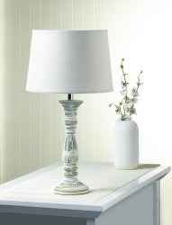 Antique Finish Weathered White Ceramic Table Lamp w/ Fabric Shade