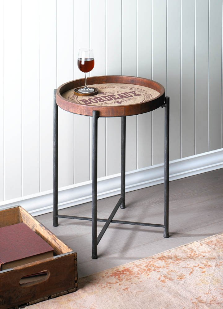 Image 0 of Wooden Side Table w/ Classic Bordeaux Wine Label Design Metal Legs