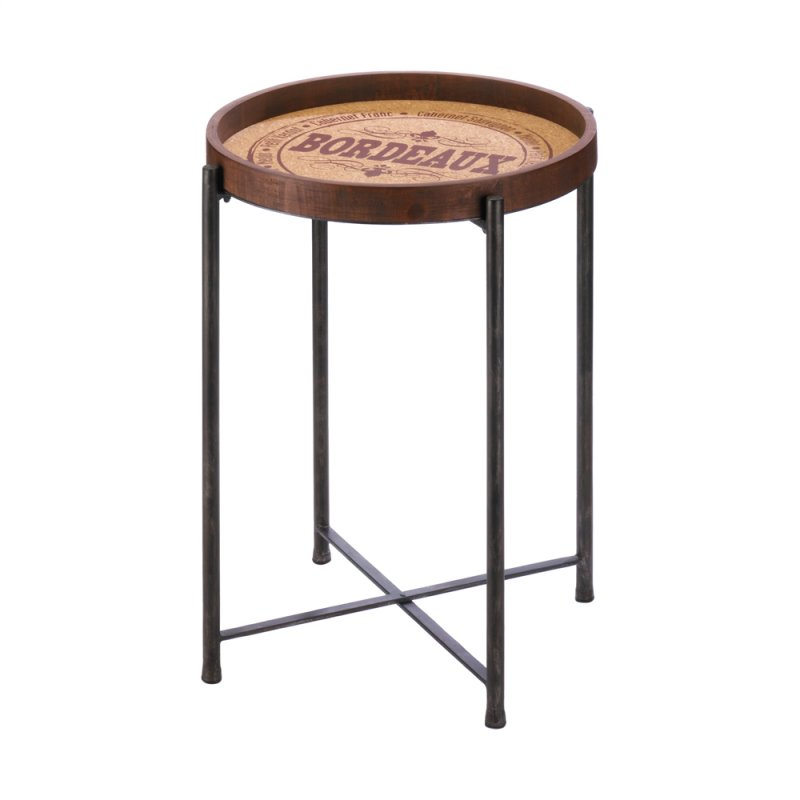 Image 1 of Wooden Side Table w/ Classic Bordeaux Wine Label Design Metal Legs
