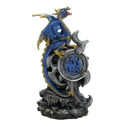 Blue Dragon with Golden Accents Guarding a LED Light Up Medallion Figurine