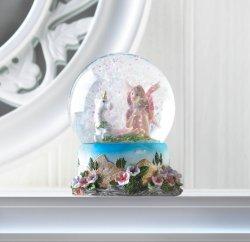 Garden Fairy with Unicorn Mini Snow Globe Pink & White Flowers Around Base