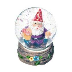 Happy Garden Gnome Mini Snow Globe Blue & Yellow Flowers Around Base