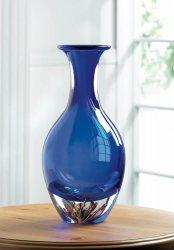 Blue Art Glass Bottleneck Decorative Vase Clear Base w/ Explosion of Colors