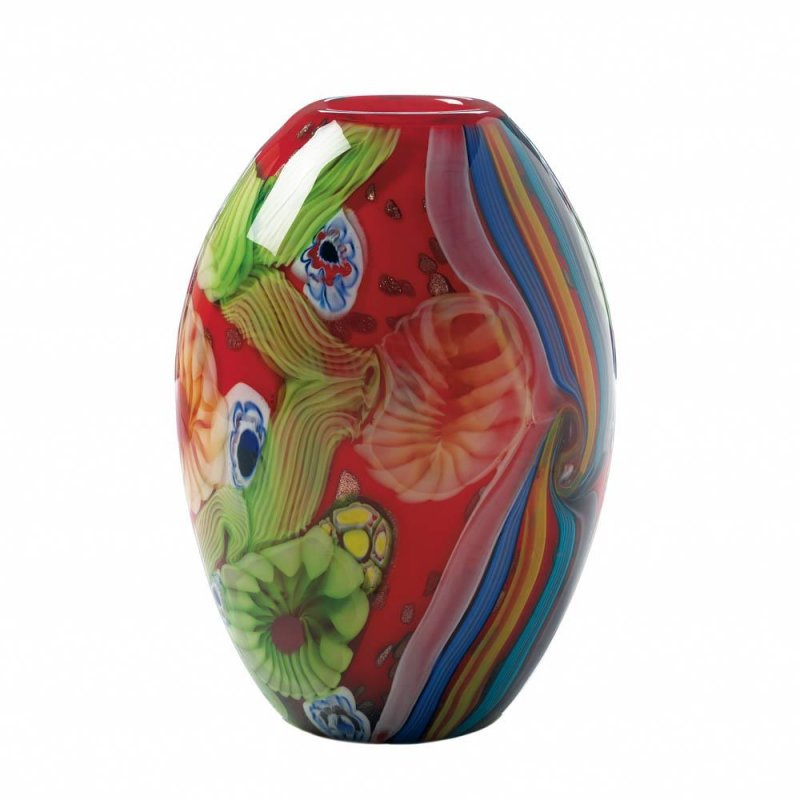 Image 0 of Red Freeform Floral Art Glass Decorative Vase