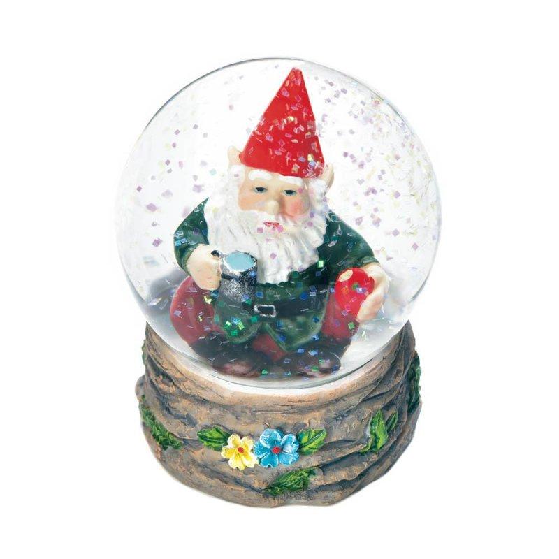 Image 0 of Garden Gnome Taking a Coffee Break Mini Snow Globe