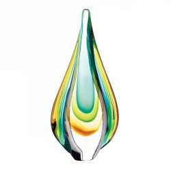 Modern Contemporary Water Drop Shape Colorful Art Glass Statue