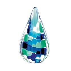 Modern Blue & Green Pixel Style Tear Drop Shape Art Glass Statue