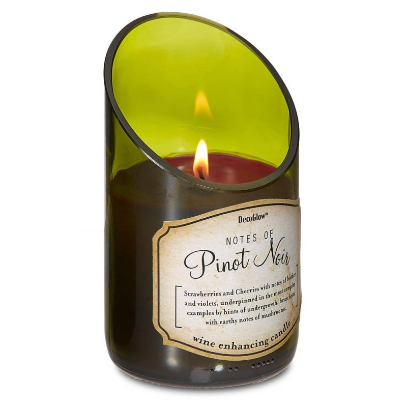 Image 0 of Green Glass Wine Bottle Pinot Noir Scented Candle Cotton Wick 40 Hours Burn Time