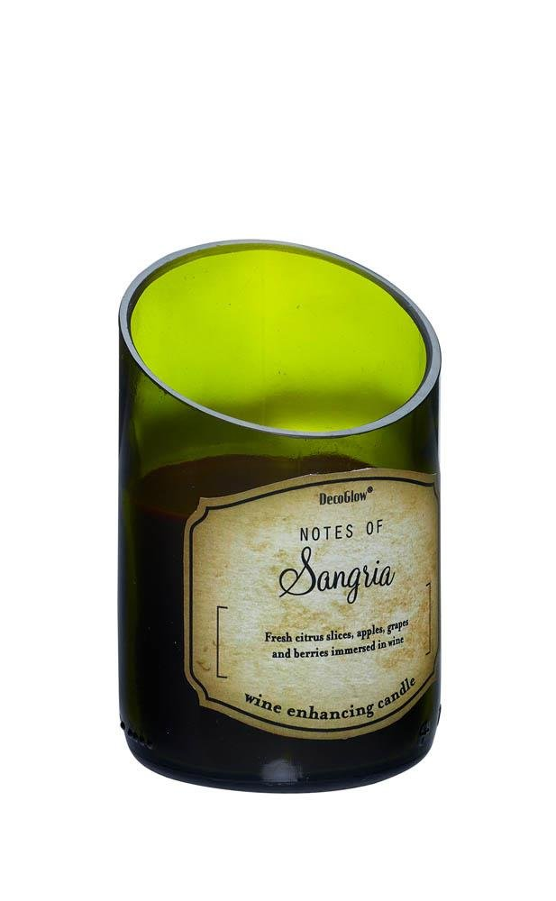 Image 0 of Green Glass Wine Bottle Sangria Scented Candle Cotton Wick 40 Hours Burn Time