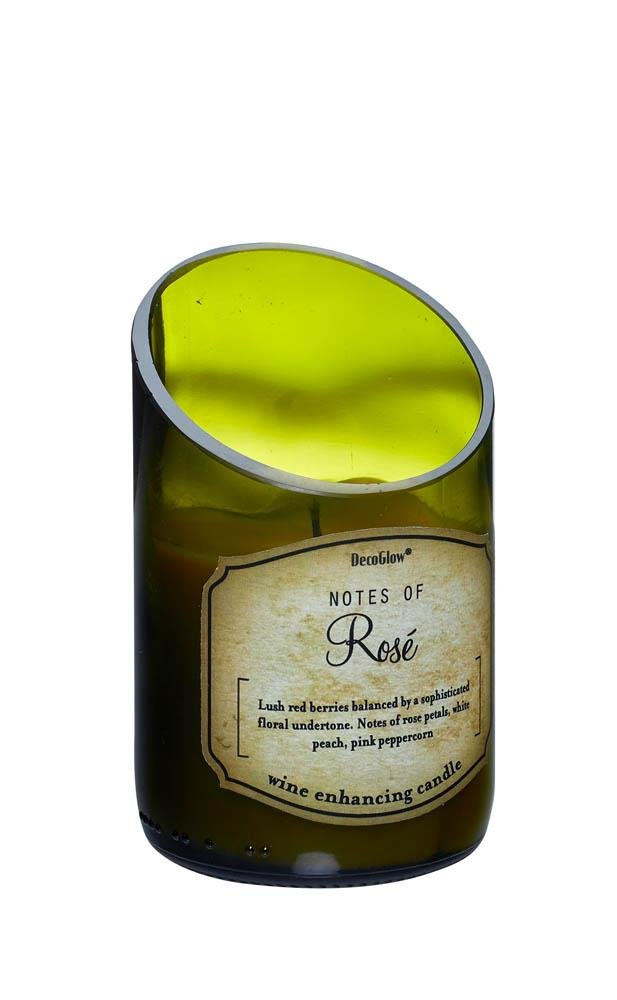 Image 0 of Green Glass Wine Bottle Rose Scented Candle Cotton Wick 40 Hours Burn Time
