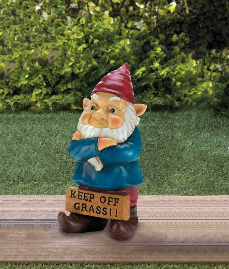Image 0 of Grumpy Garden Gnome with Keep Off Grass Sign Figurine Statue