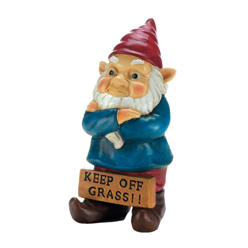 Image 1 of Grumpy Garden Gnome with Keep Off Grass Sign Figurine Statue