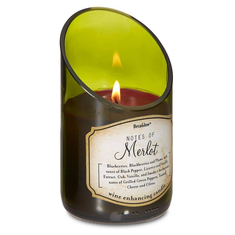 Image 0 of Green Glass Wine Bottle w/ Merlot Scented Candle Cotton Wick 40 Hours Burn Time